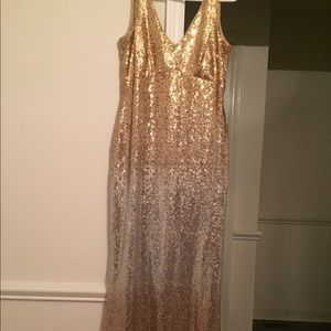 Silver and Gold Size 6 Formal Sequins Dress Prom